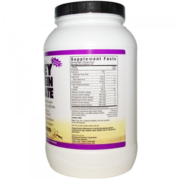 Bluebonnet Nutrition, Whey Protein Isolate, Natural French Vanilla Flavor, 2 lbs (924 g)